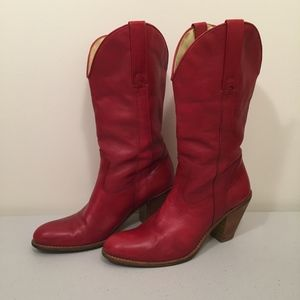 Jessica Simpson Red Leather Western Cowboy Boots